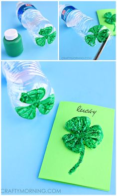 Water Bottle 3 Leaf Clover Cards - Pretty st. patrick's day craft! | CraftyMorning.com