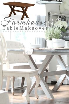 Painted Farmhouse Table in shades of gray - Take a new Better Homes and Gardens at Walmart X-based table from brown to driftwood gray - DIY steps included #bhglivebetter #ad @bhglivebetter @bhg @walmart