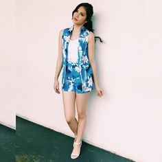 This just in: JANELLA SALVADOR looking fresher than ever in a floral oversized vest and high waisted shorts by High Waisted Shorts, Salvador, Fashion Pants, Warm Weather, Fall Winter, Cover Up, Vest, Rompers, Floral