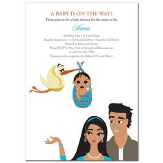 Unique Indian Baby Shower Invitations from #Soulfulmoon- Parents and Stork