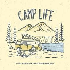 Camp Life design for sale Wanna get this design for your brand? Hit me on DM or email Mountain Illustration, Travel Illustration, Retro Illustration, Logo Design Services, Branding Design, Adventure Time, Outdoor Logos, Mountain Drawing, Logo Process