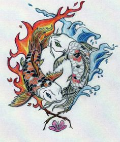 koi fish dragon yin yang - Google Search