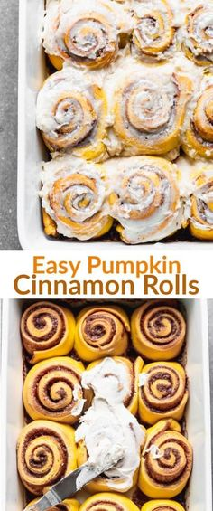 Pumpkin Cinnamon Rolls with cream cheese frosting are the perfect fall breakfast or dessert An easy homemade recipe made with simple ingredients via betrfromscratch Sweet Desserts, Delicious Desserts, Dessert Recipes, Dinner Recipes, Pudding Recipes, Seafood Recipes, Pumpkin Recipes, Fall Recipes, Christmas Recipes