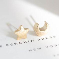 Moon and Star Stud Earrings | The Alchemy Shop, LLC