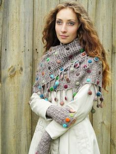 """Autumn drops"" (crochet set - crochet cowl & mitts - crochet drops - fingerless gloves - crochet lace mittens - crochet scarf cowl)"