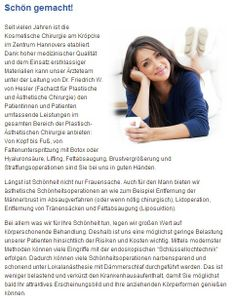 Brustvergroesserungen, Fett absaugen und Falten entfernen in Fachklinik Hannover - Schönheitsoperationen und Chirurgie