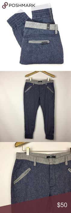 7 FOR ALL MANKIND Drapey Jogger Pants \\ Sz 27 7 FOR ALL MANKIND Joggers Drapey Contrast Pant Size 27 62% cotton, 38% linen Gently preowned with no visible signs of wear  16.25 inches across waist 9.5 inch rise 25.75 inch inseam 5 inch leg opening 7 For All Mankind Pants Track Pants & Joggers
