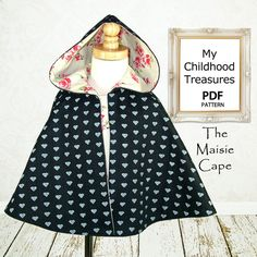 Cape pattern, Girls PDF sewing pattern, Instant Download, Costume, Jacket, Childrens pattern,