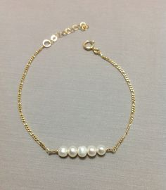 Natural Pearls Bar Bracelet made of 14k Gold Filled, Handmade Bracelet, Handcrafted Jewelry