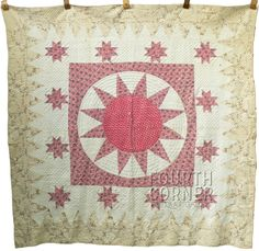 """Extraordinary Compass Sunburst Red Chintz Medallion C1840S Antique Quilt 7 9SPI 
