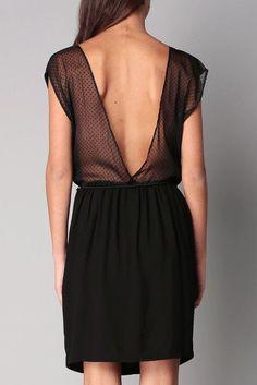 Robe noire ceinturée plumetis Bridgette Sessun sur MonShowroom.com: