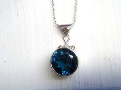 London Blue Topaz Necklace In Sterling Silver With by EmeraldPixie, $90.00