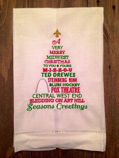 St. Louis Christmas tree tea towel on Etsy, $12.00
