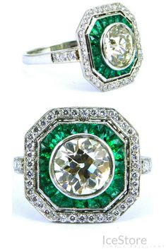 Natural Green Diamond Engagement Ring