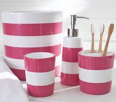Pink Stripe Bath Accessories #pbkids