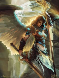 Okay. This is Regina, one of the Gemini Archangels. She dual-wields a staff and greatsword, as shown, and is a skilled healer/fighter. In D&D terms, she'd be like a Paladin.