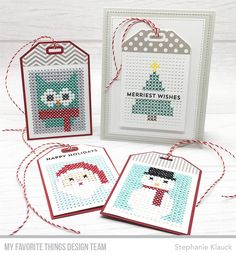 Snow Globe Sentiments, A2 Stitched Rectangle STAX Die-namics, Cross-Stitch Tag Die-namics — Stephanie Klauck #mftstamps