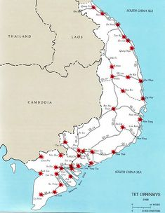 "The ""Tet Offensive"" was a major turning point of the Vietnam War. The North Vietnamese and Viet Cong staged a major offensive against South Vietnam. Vietnam Map, Vietnam History, Vietnam War Photos, South Vietnam, Vietnam Veterans, North Vietnamese Army, American War, American Soldiers, American Veterans"