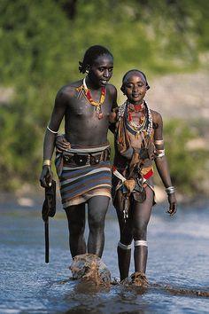 Hamar couple . Ethiopia