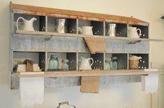 Old Nesting Box...re-purposed into a prim display shelf.   bucketsofburlap.blogspot.com
