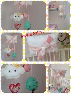 Sweet dreams mobil/ door hanger. Wall Banner, Door Hangers, Sweet Dreams, Mobiles, Nursery, Fabric, Baby, Handmade, Tejido