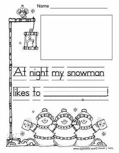 Snowman at night writing Snowman writing for kindergarten. Writing Activities, Teaching Writing, Winter Activities, Preschool Winter, Teaching Biology, Stem Activities, Preschool Ideas, Teaching Ideas, 1st Grade Writing