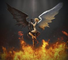The angel and the demon Heaven and hell Lust is love when love lusts Demon Art, Ange Demon, Angel Devil Tattoo, Angel And Devil, Fallen Angel Tattoo, Dark Fantasy Art, Dark Art, Art Noir, Angel Artwork