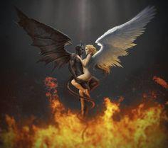 The angel and the demon Heaven and hell Lust is love when love lusts Demon Art, Ange Demon, Fantasy Kunst, Dark Fantasy Art, Dark Art, Angel Devil Tattoo, Angel And Devil, Angel Artwork, Angel Warrior