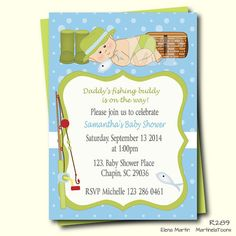 Fun fishing baby shower invitation a cute baby boy with fishing hat catching a fish, decorated with green and blue accents. This design is perfect to celebrate the arrival of the future Daddys fishing buddy. Custom digital printable invite with Martinela Toons exclusive clipart. Adjust wording to suit your event. Skin tone can be changed, I offer fair, medium or dark skin tones (enter your request at checkout) Make your baby shower extra special with matching thank you cards, games, inserts…
