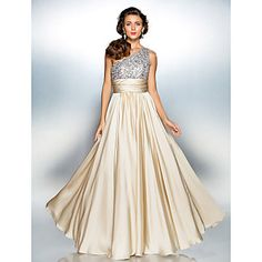 TS+Couture+Prom+/+Military+Ball+/+Formal+Evening+Dress+-+Champagne+Plus+Sizes+/+Petite+Sheath/Column+One+Shoulder+Floor-length+Satin+Chiffon+–+USD+$+99.99
