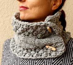 Gray Grey Scarf  Knit Cowl Cable Chunky Neck Warmer by warmandsoft textur cowl, knitted cowls, scarv