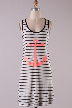 Sleeveless stripe jersey shift dress with anchor print front and bow backing