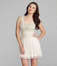 Chelsea & Violet Crochet and Tulle Dress | Dillards.com
