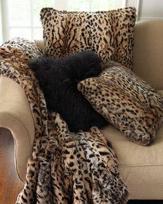 Rabbit Fur Throw, Rabbit Fur Pillows, & Mongolian Wool Pillow by Adrienne Landau at Horchow.