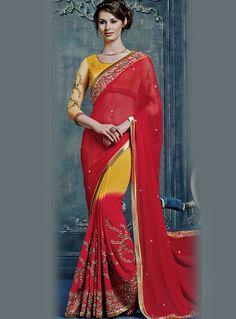 Red Chiffon Festival Wear Saree 87336