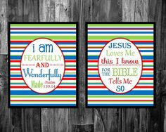 2 Piece Bible Verse Set- I am fearfully and wonderfully made and Jesus Loves Me! This is a Reserved listing for an 8x10 instant download that