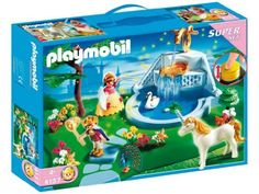 Playmobil Super Set Dream Garden by Playmobil. $48.99. 13.8 x 9.8 x 3 inches. Travel to the Dream Garden to see a land with a magic fountain, animals, a prince, and a princess. Includes two figures, swan, peacock, unicorn, butterflies, tree, flowers, and other accessories. The fountain has a water spout that works with a hand pump. Recommended for ages four and up.