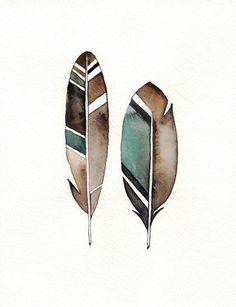 Earthy Feather / Black Teal Grey  Watercolor by kellybermudez