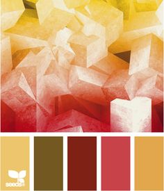Color: Abstract Color by Design Seeds - light gold, khaki green, maroon, deep rose, medium gold.