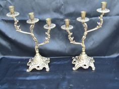 Bronze Candelabra//Bronze candle sticks by VintageRetroOddities