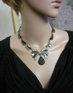 Taxco M. Ocampo Sterling Abalone Onyx Necklace Vintage ~ 925 Onyx Abalone Link Necklace ~ Pre-1948 Signed Taxco Sterling Mexico Necklace by JewelryGenealogy on Etsy