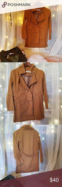 CuteRose Men Raw Cut Hem Winter Fall Wool Blended Trench Coat Jacket
