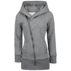 Extra long hooded zip with asymmetrical zipper, broed cuffs, two slide-in pockets and big hood.