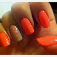 coral nails nail art spring nails