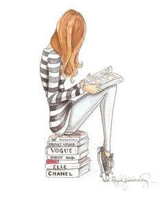 The Reader Series Hipster Fashion Illustration by StephanieJimenez, $12.00