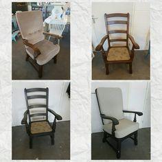 Chair make-over geverfd in Graphite en gestoffeerd met de stof Gentleman van Annie Sloan