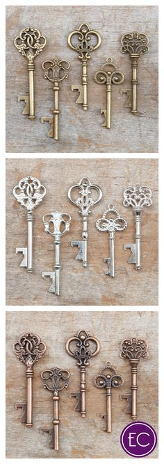 These vintage key bottle openers are perfect for your wedding day!