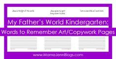 FREE My Father's World #Kindergarten Copywork #mfw
