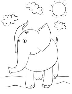 Cute Cartoon Elephant Coloring Page From Elephants Category Select 24913 Printable Crafts Of Cartoons