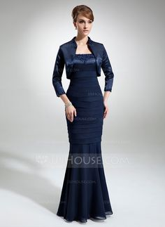 Trumpet/Mermaid Square Neckline Floor-Length Lace Beading Zipper Up Regular Straps Sleeveless Yes Dark Navy Spring Summer Fall General Plus Chiffon Charmeuse Mother of the Bride Dress